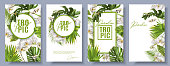 Vector botanical vertical banners set with tropical leaves, orchid flowers and butterflies on white background. Design for cosmetics, spa, beauty care products, travel company. Can be used as summer background or wedding invitations
