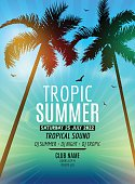 Tropic Summer Beach Party.   vacation and travel. Tropical poster colorful