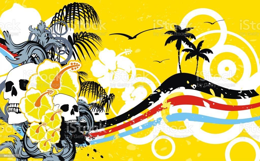 tropic summer hawai skull background tropic summer hawai skull background - stockowe grafiki wektorowe i więcej obrazów abstrakcja royalty-free