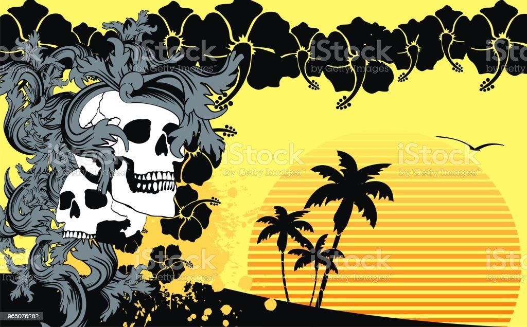 tropic summer hawaiian skull background3 tropic summer hawaiian skull background3 - stockowe grafiki wektorowe i więcej obrazów abstrakcja royalty-free