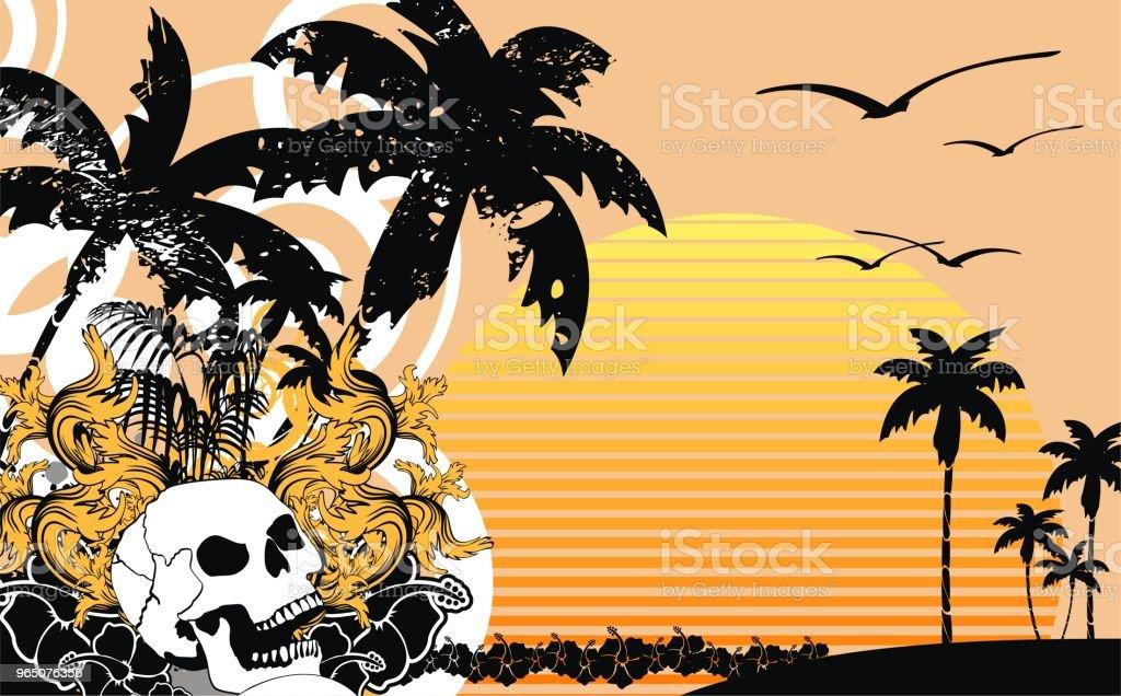 tropic summer hawaiian skull sunset background tropic summer hawaiian skull sunset background - stockowe grafiki wektorowe i więcej obrazów abstrakcja royalty-free