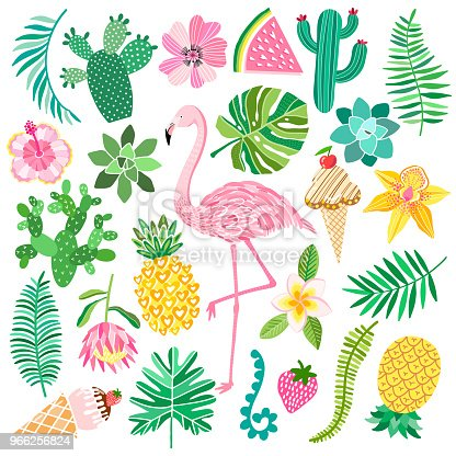 Tropic summer vector set. Flamingo, exotic plants and flowers