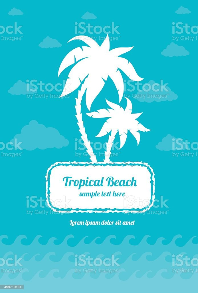 Tropica beach palms sign with clouds and sea waves vector art illustration