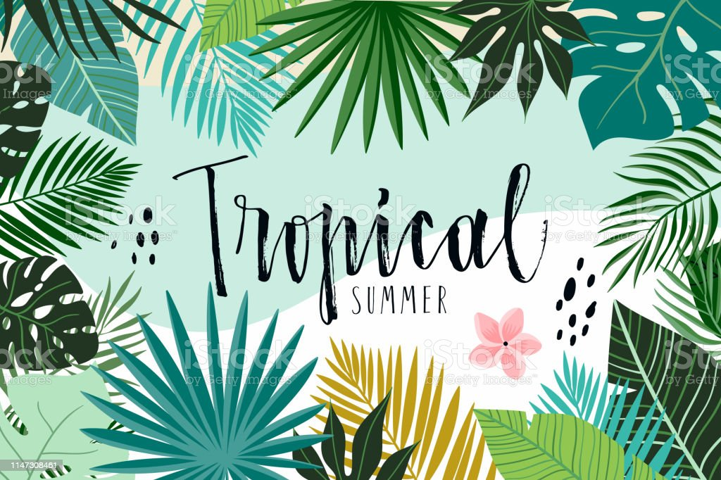 Tropical abstract background with hand drawn leaves