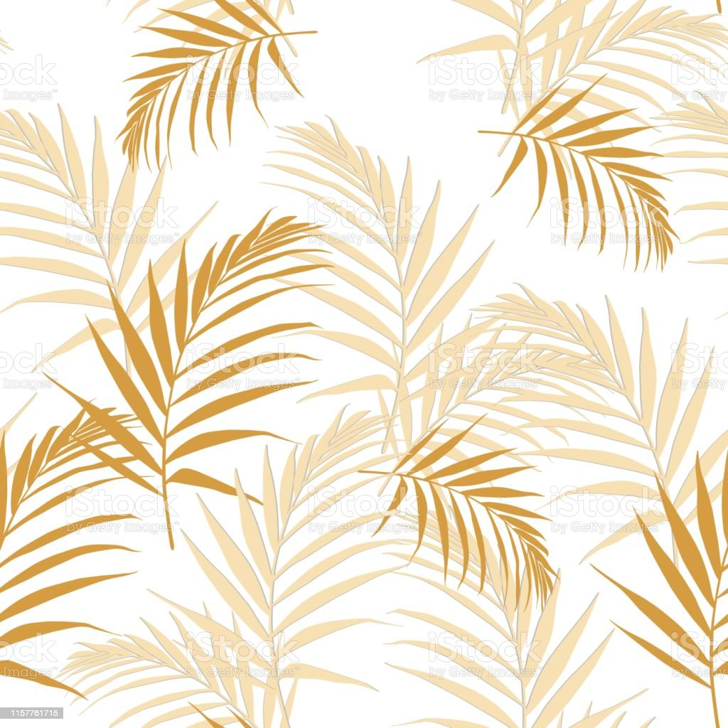 Tropical abstract yellow leaves seamless pattern with leaves....