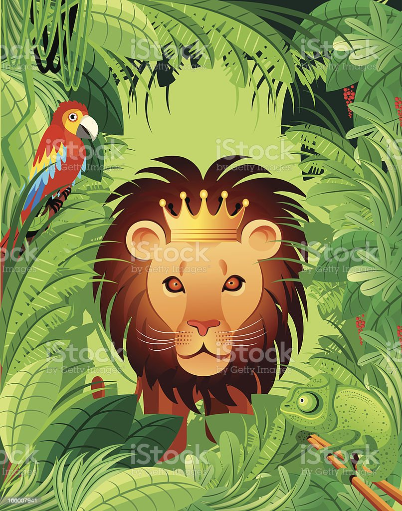 Tropical Africa and King lion royalty-free stock vector art