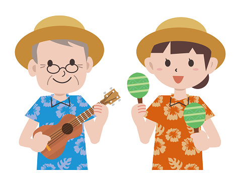 Tropical Aloha shirt ukulele performance men and women