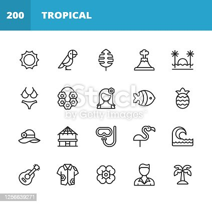 20 Tropical and Exotic Outline Icons. Sun, Summer, Tropics, Exotic, Hawaii, Island, Parrot, Bird, Leaf, Nature, Sunset, Landscape, Beach, Cocktail, Drink, Necklace, Flower, Tourist, Vacation, Pineapple, Fruit, Hat, Beach House, Snorkeling, Diving, Wave, Surfing, Water, Ocean, Sea, Guitar, Shirt, Palm Tree.