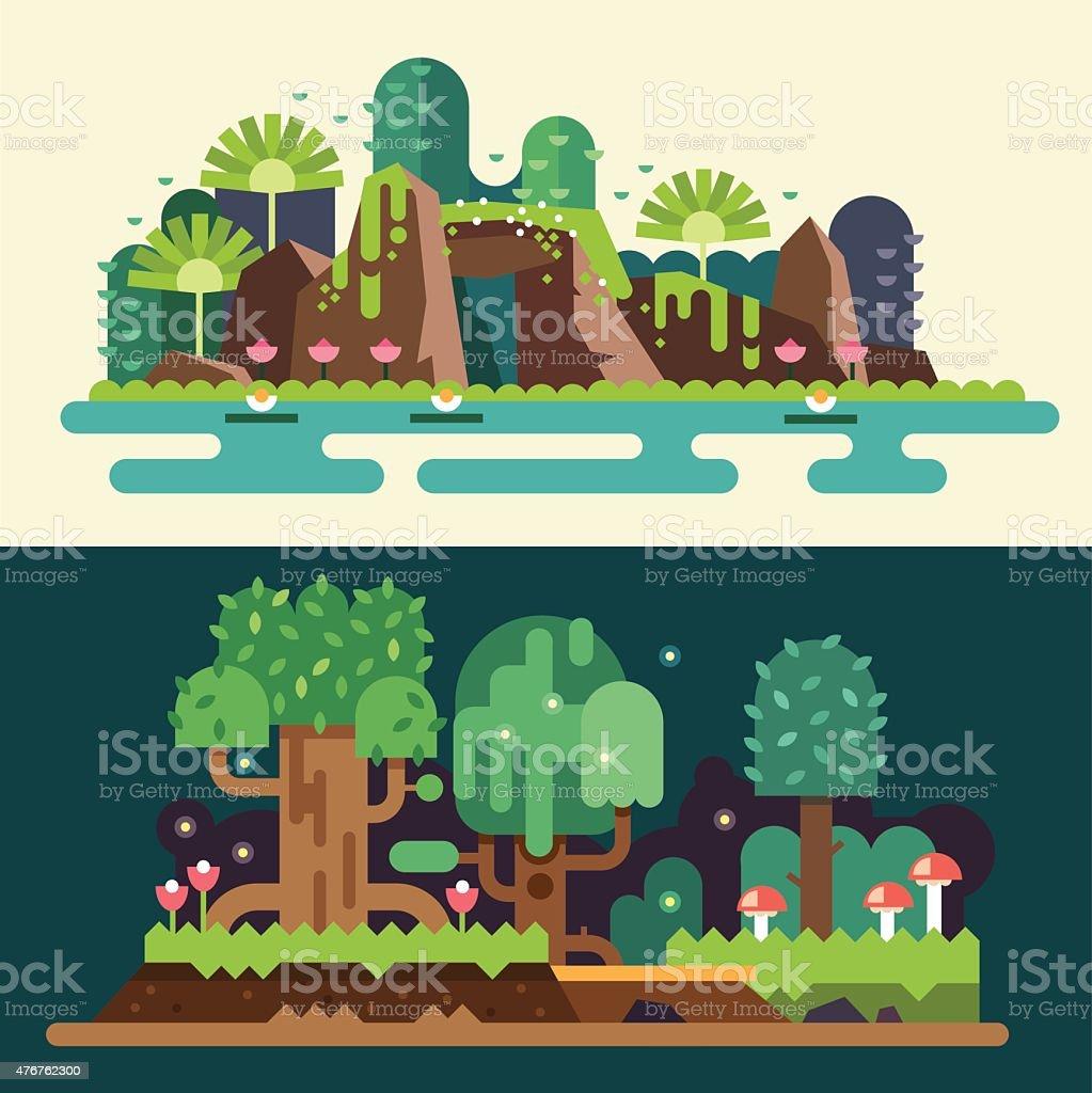 Tropical and  forest landscapes vector art illustration