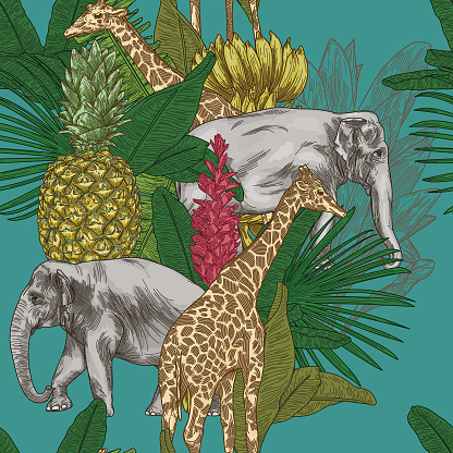Tropical Animal Safari Seamless Pattern Background