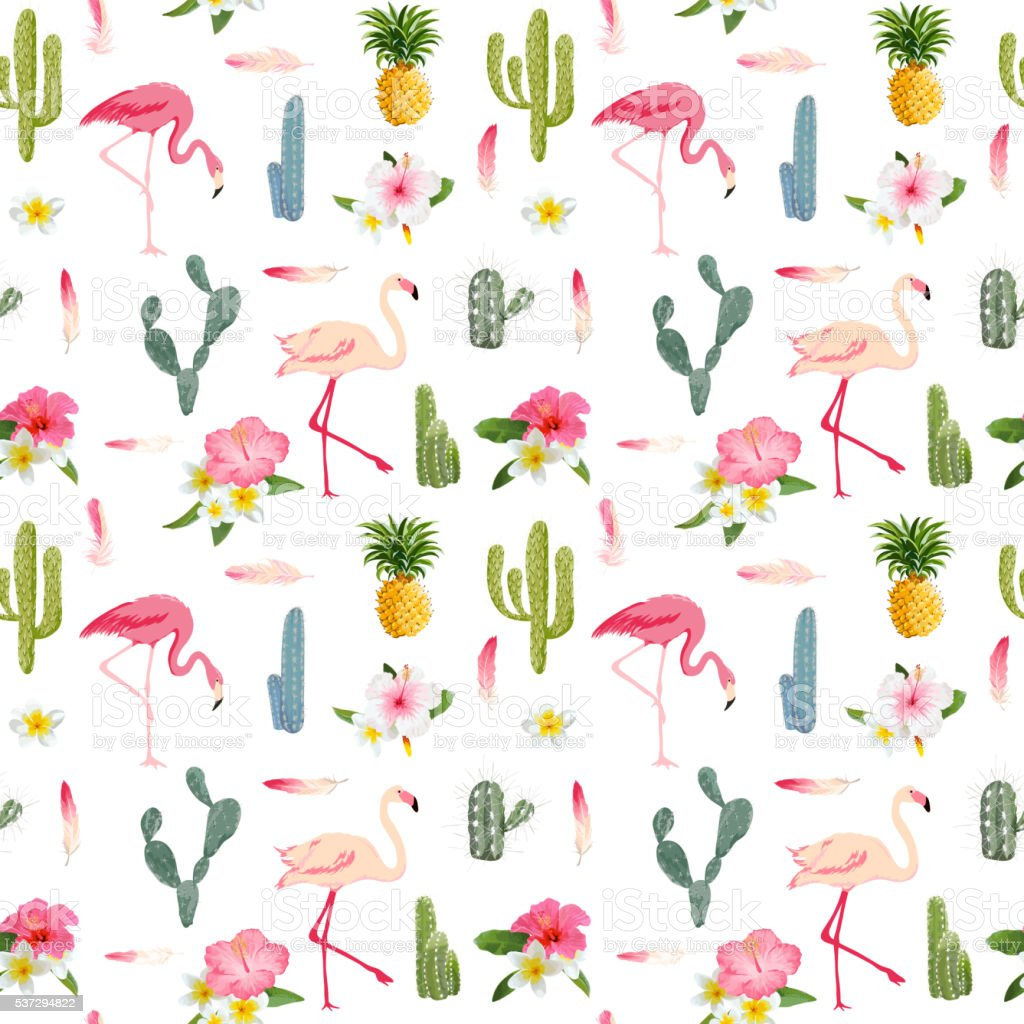 Tropical Background. Flamingo Bird. Cactus Background. Tropical vector art illustration
