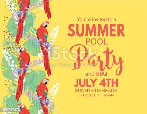 Pool Party Invitation Template with lots of tropical plants and parrots.