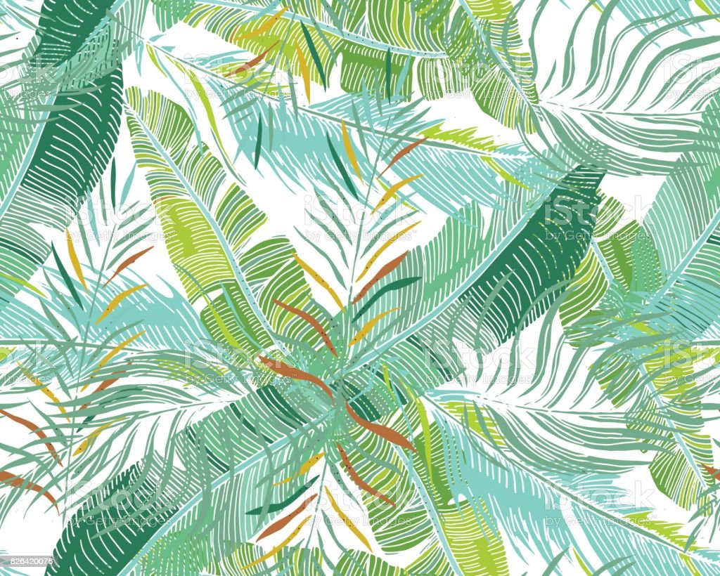 Tropical Background. Vector Seamless Pattern With Exotic Palm Trees leaves For Textile Or Book Covers, Manufacturing, Wallpapers, Print, Gift Wrap And Scrapbooking. vector art illustration