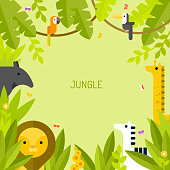 Tropical background with animals. Jungle.