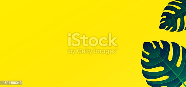 istock HD tropical background with clean yellow color and monstera green leaves. Vector illustration of summer background and can editable 1324498049