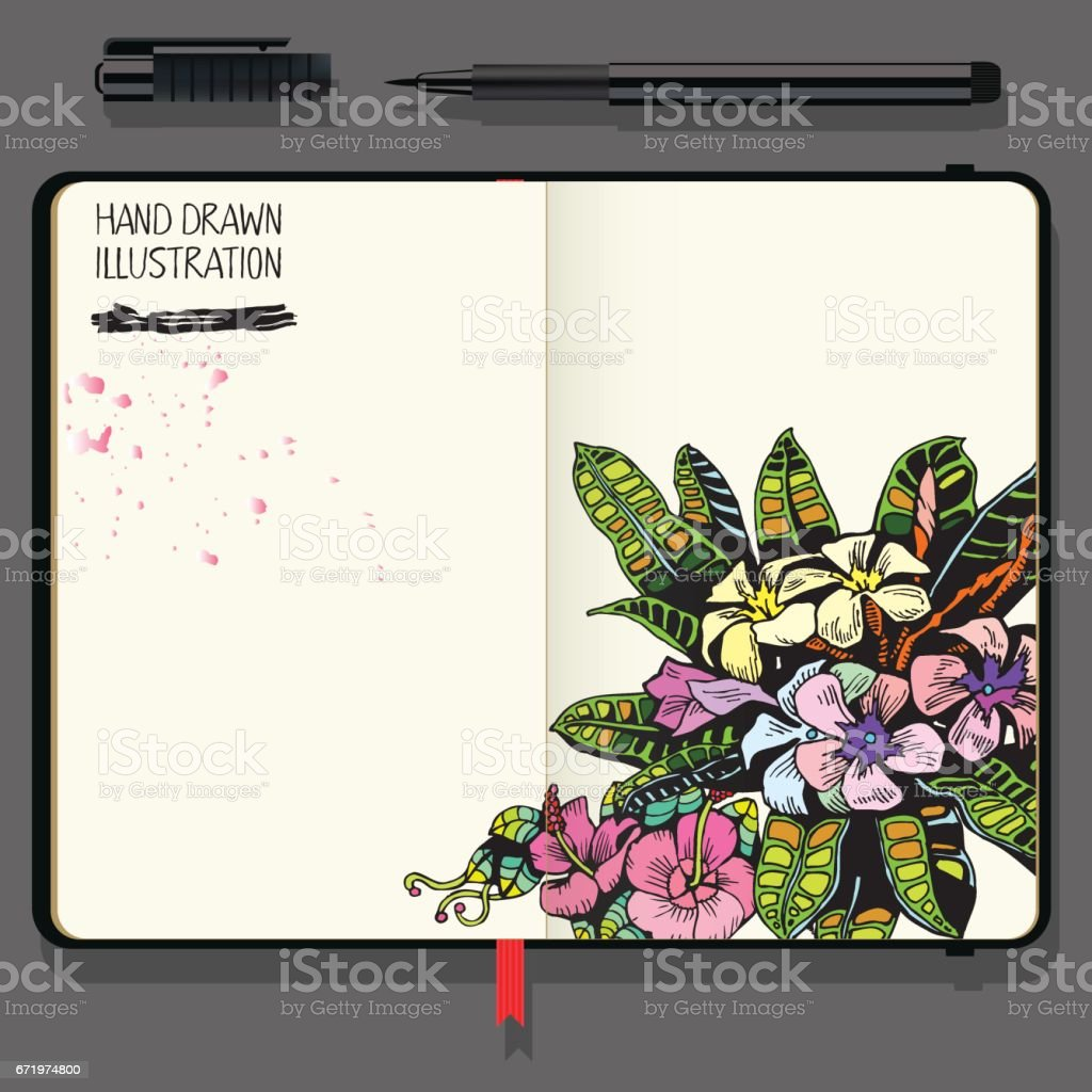 Tropical Background with Exotic Flowers and Leaf. Vector Notebooks with Fine Liner Pen. vector art illustration