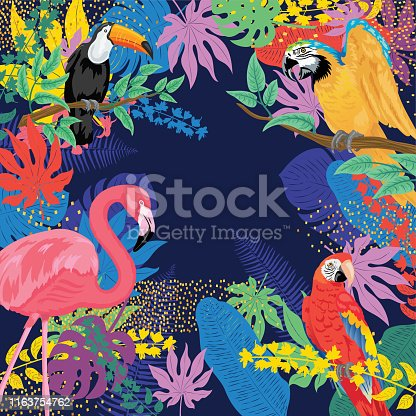 Tropical plants background with Flamingos, toucan and parrots