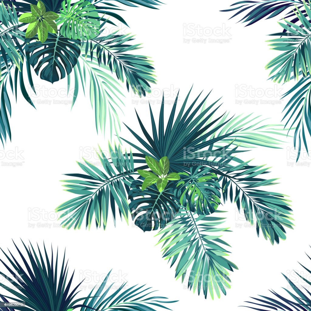 Tropical background with jungle plants. Seamless vector tropical pattern with green phoenix palm leaves vector art illustration