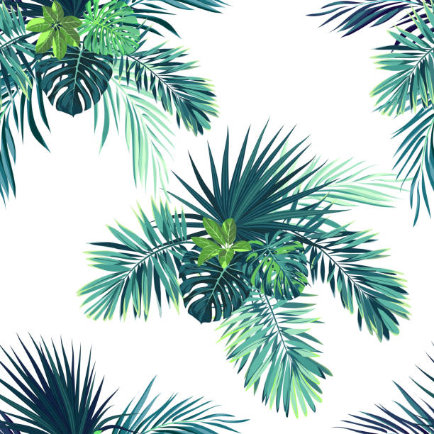 Tropical background with jungle plants. Seamless vector tropical pattern with green phoenix palm leaves Tropical background with jungle plants. Seamless tropical pattern with green phoenix palm leaves. Vector illustration. tropical flower stock illustrations