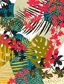 Tropical Background With Leaves and Gold Glitter.