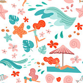 Tropical background with palm leaves, ocean waves and girls in bikini. Seamless summer holiday pattern. beach vector illustration in scandinavian style on white background.