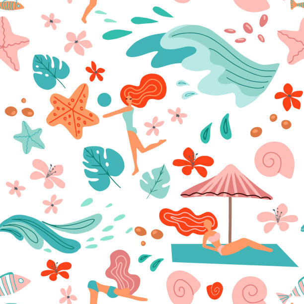 tropical background with palm leaves, ocean waves and girls in bikini. seamless summer holiday pattern. beach vector illustration in scandinavian style on white background - jungle stock illustrations