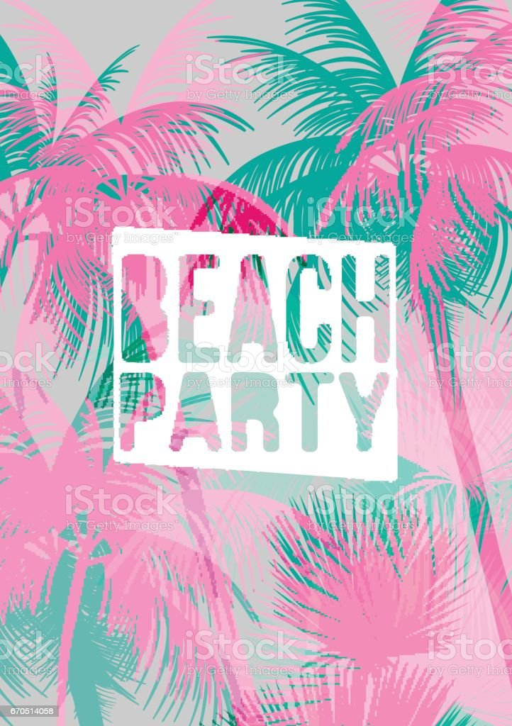 Tropical Background with Palm Tree - Vector Illustration vector art illustration