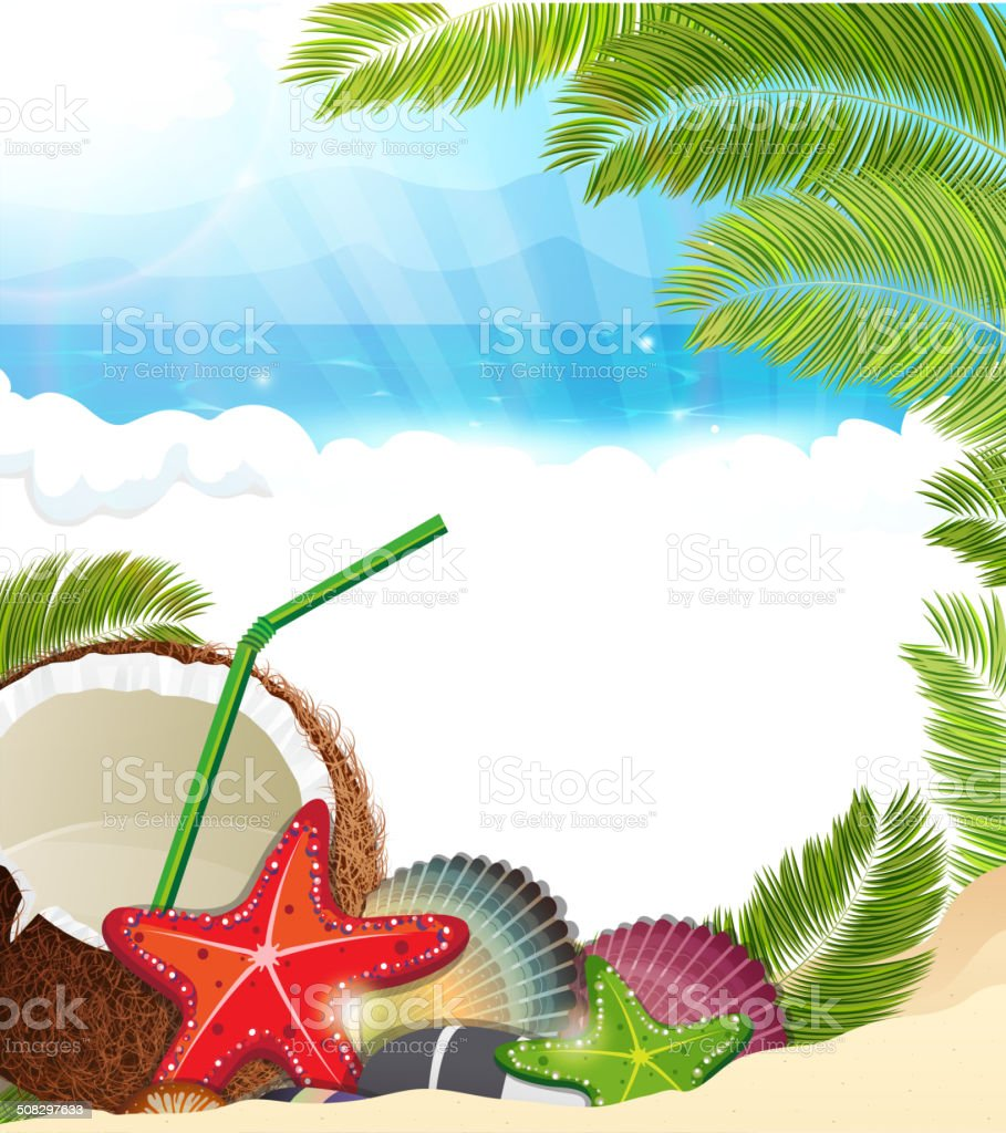 Tropical background with  palm trees and coconut cocktail vector art illustration