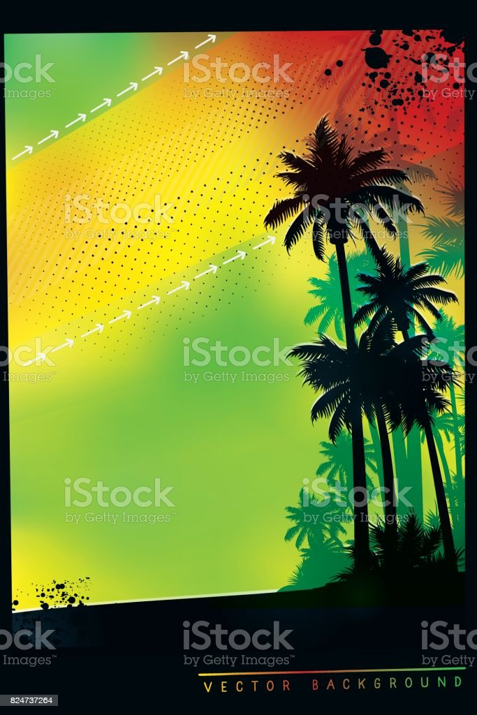 Tropical background with palm trees in colors of Jamaica flag