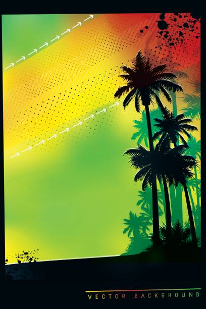 Tropical background with palm trees in colors of Jamaica flag vector art illustration