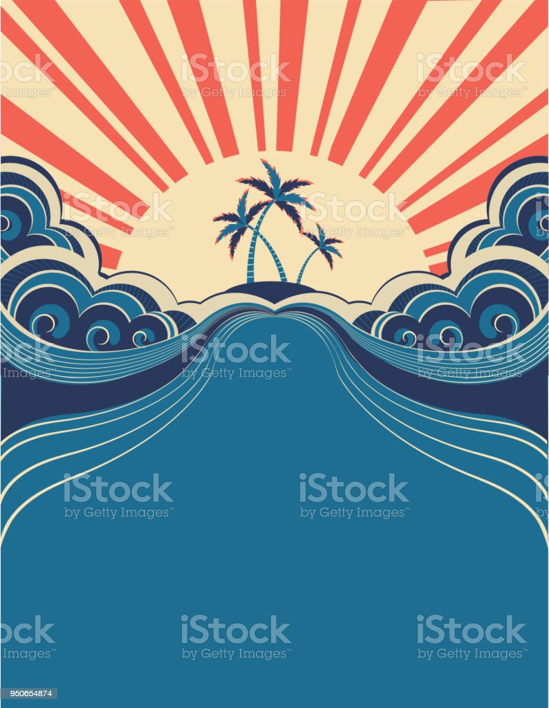 Tropical background with palms and sunshine.Vector illustration vector art illustration