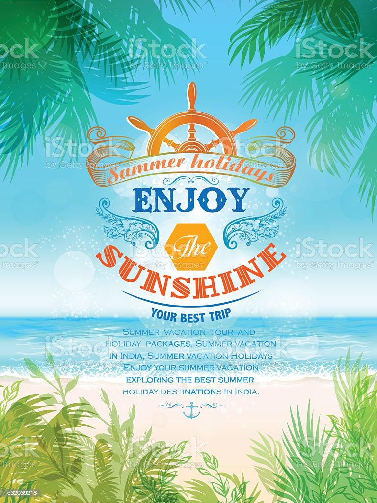 Tropical Background with Text element vector art illustration