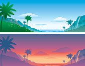 Vector illustrations of Hawaiian/tropical settings contrasting daytime and sunset.  Related images may be found in this lightbox: [url=http://www.istockphoto.com/file_search.php?action=file&lightboxID=6055599] [img]http://i603.photobucket.com/albums/tt115/andersonanderson/Nature.jpg[/img] [/url]