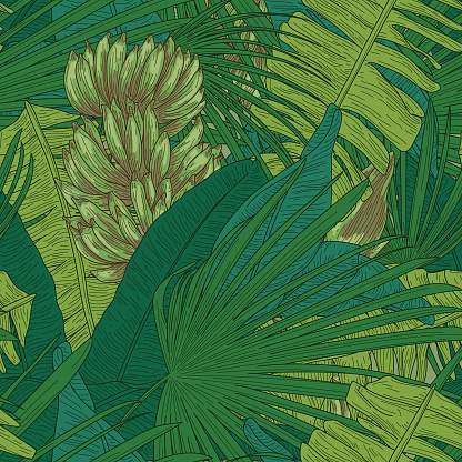 Tropical Banana Leaf Seamless Pattern