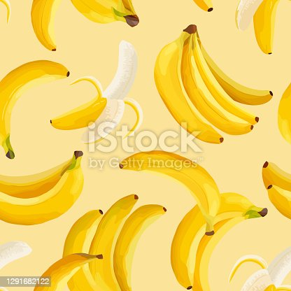 istock Tropical banana seamless vector background. Exotic tropic fruit pattern design. Watercolor template for invitation, modern poster, minimal backdrop, cover 1291682122
