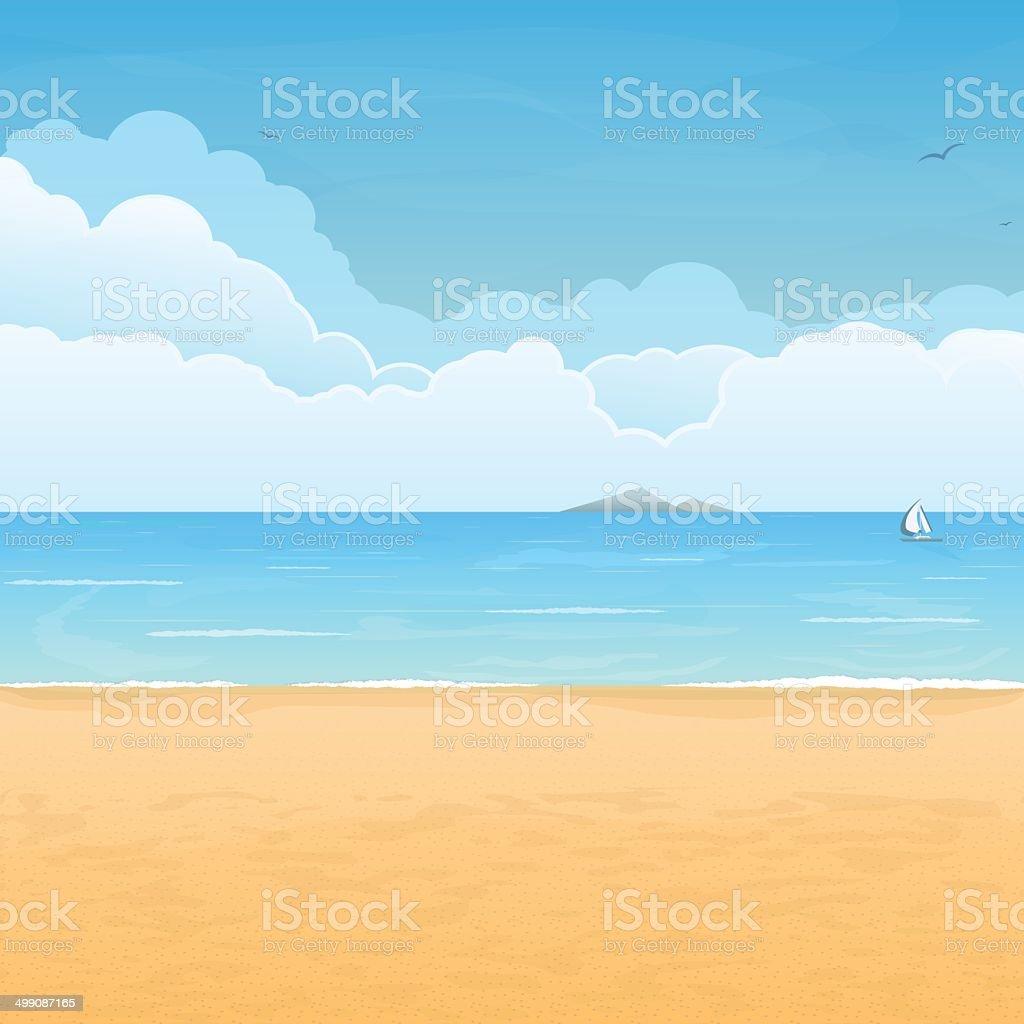 Tropischen Strand und Wolken Motiv – Vektorgrafik