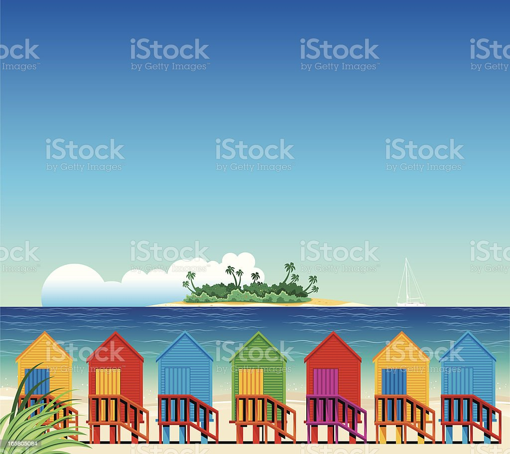 Tropical Beach and Huts vector art illustration
