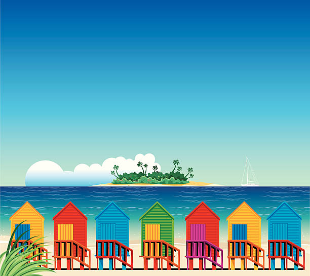 Tropical Beach and Huts vector art illustration