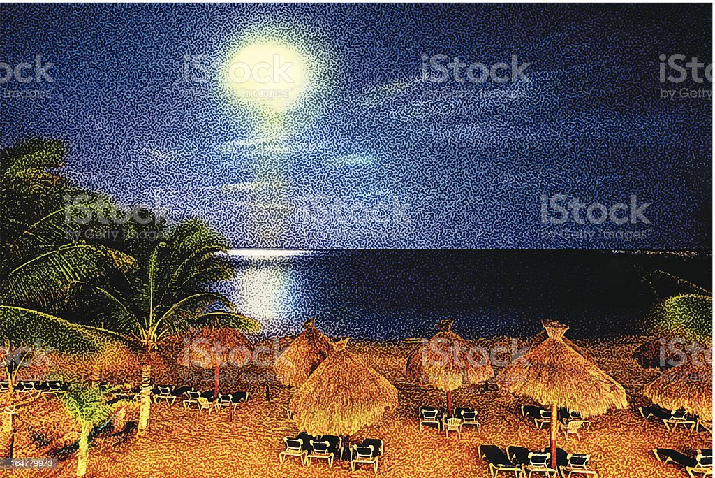 Tropical Beach And Moonlight royalty-free stock vector art