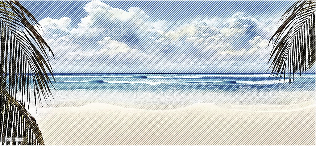 Tropical Beach and Palm Trees vector art illustration