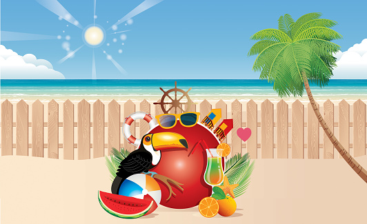 Tropical Beach and Travel and Wooden Fence