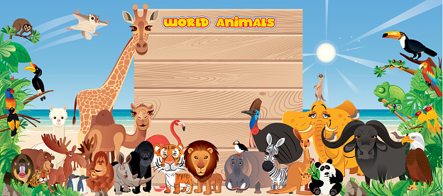 Tropical Beach and Wooden Board and Animals