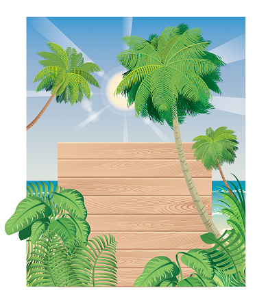 Tropical Beach and Wooden Board