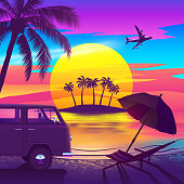 Tropical beach at sunset with an island, palm trees, van, chaise longue and passenger plane in the colorful sky.
