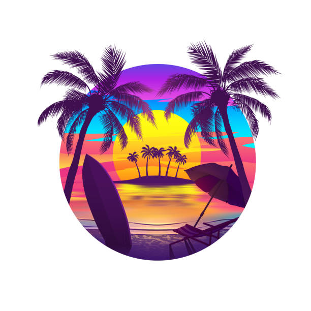 Tropical Beach at Sunset with Island Tropical beach at sunset with palm trees, chaise longue, surfboard and island on the horizon. Vector illustration of EPS10 with bright colors. idyllic stock illustrations