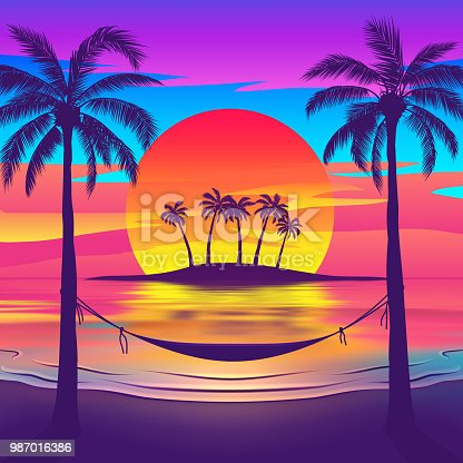 Tropical beach at sunset with a hammock and an island on the horizon. Vector illustration of EPS10 with vibrant colors.