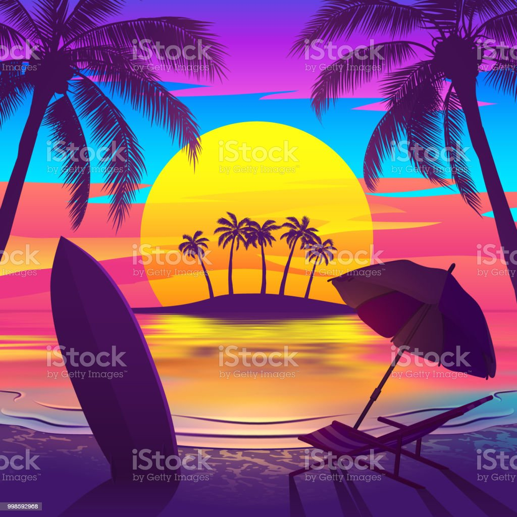 Tropical Beach At Sunset With Island Stock Illustration