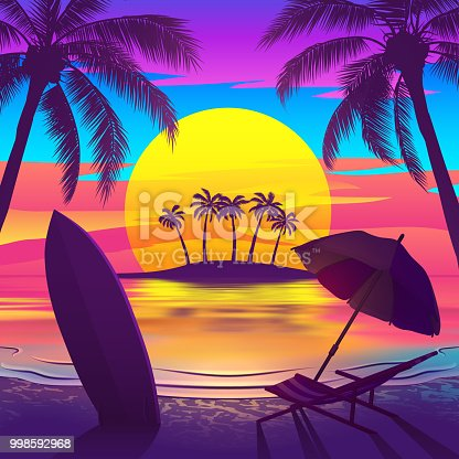 Tropical beach at sunset with palm trees, chaise longue, surfboard and island on the horizon. Vector illustration of EPS10 with bright colors.