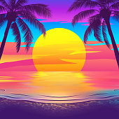 Tropical beach at sunset with palm trees. Vector illustration of EPS10 with bright colors.