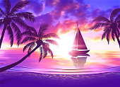 Tropical beach at sunset with sailboat and palm trees. Vector illustration of EPS10 with vibrant colors.